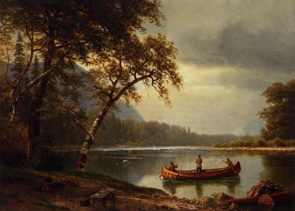 Salmon Fishing on the Cascapediac River by Albert Bierstadt
