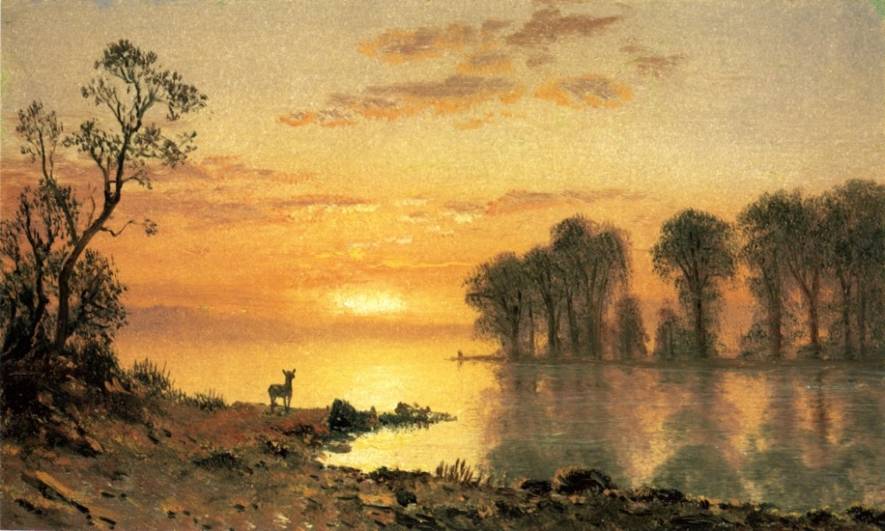 Sunset Deer and River by Albert Bierstadt
