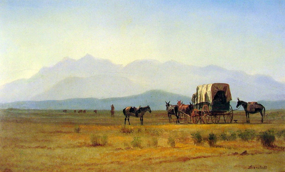 Surveyors Wagon in the Rockies by Albert Bierstadt