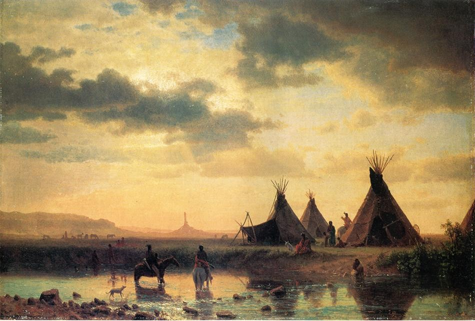 View of Chimney Rock Ogalillalh Sioux Village in Foreground by Albert Bierstadt