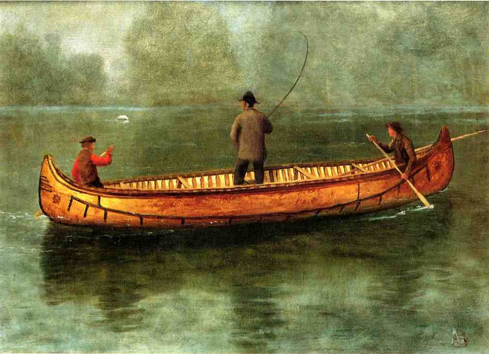 Fishing From a Canoe by Albert Bierstadt