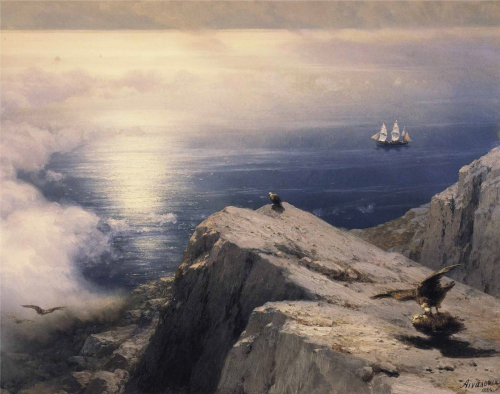 A Rocky Coastal Landscape In The Aegean With Ships In The Distance by Ivan Konstantinovich Aivazovsky