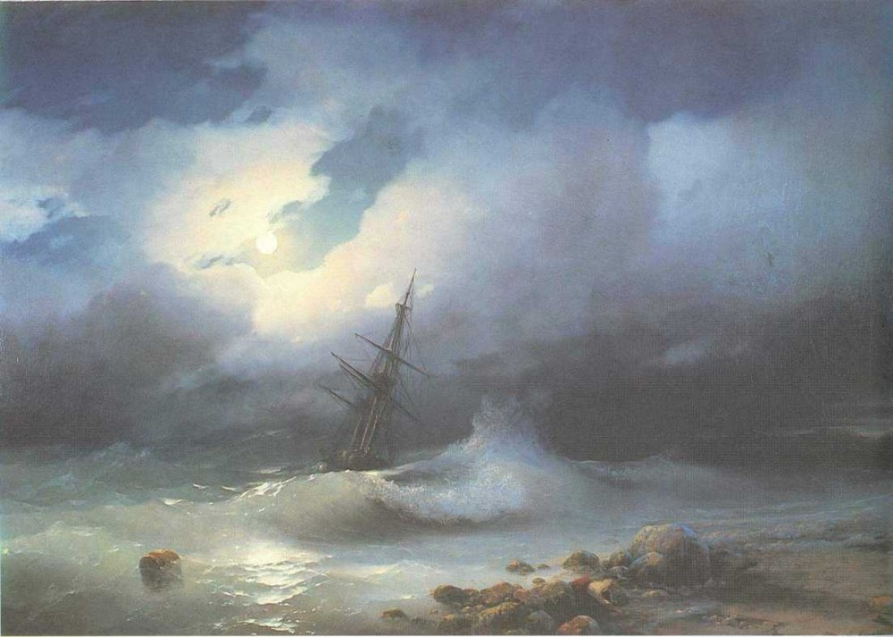 Rough Sea At Night by Ivan Konstantinovich Aivazovsky