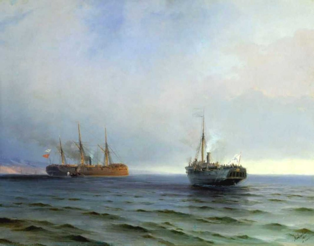 The Capture Of Turkish Nave On Black Sea by Ivan Konstantinovich Aivazovsky