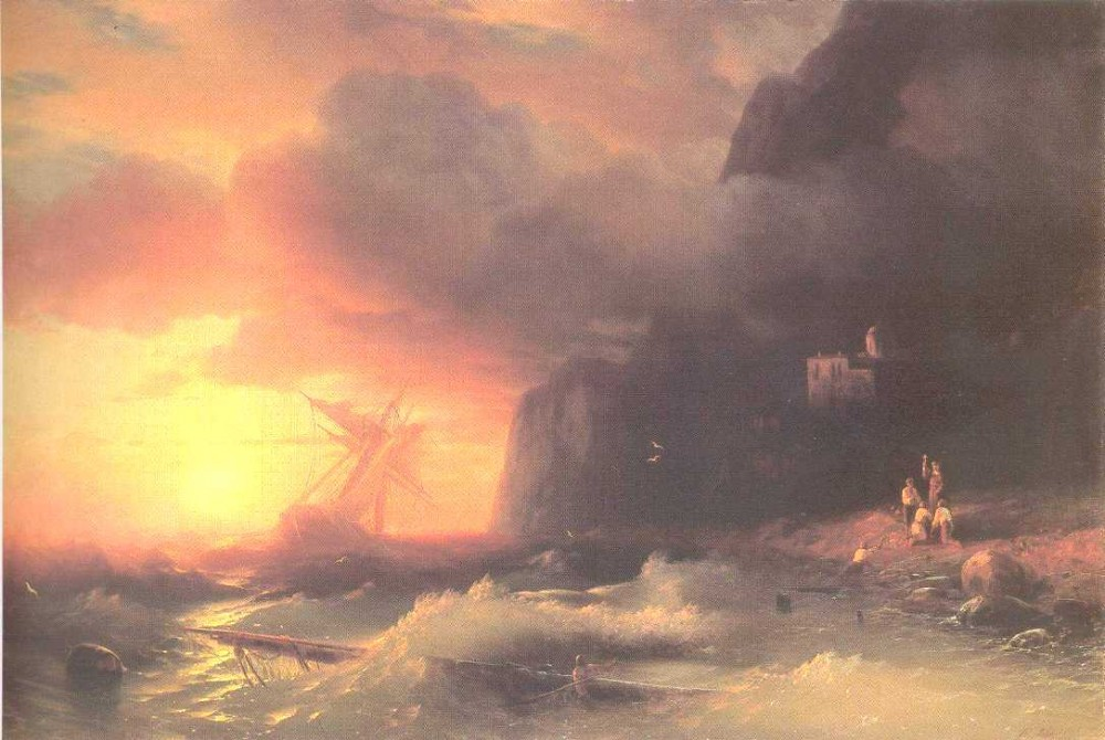 The Shipwreck Near Mountain Of Aphon by Ivan Konstantinovich Aivazovsky