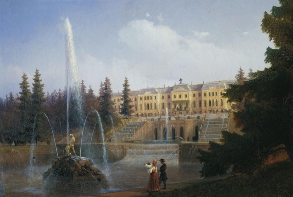 View Of The Big Cascade In Petergof And The Greate Palace Of Petergof by Ivan Konstantinovich Aivazovsky