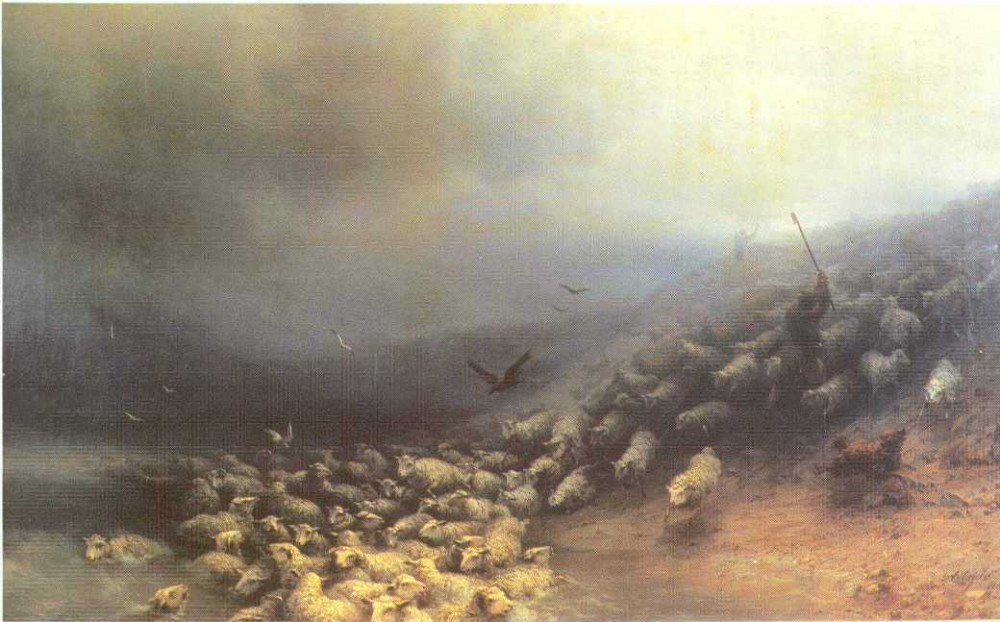 Flock Of Sheep At Gale by Ivan Konstantinovich Aivazovsky
