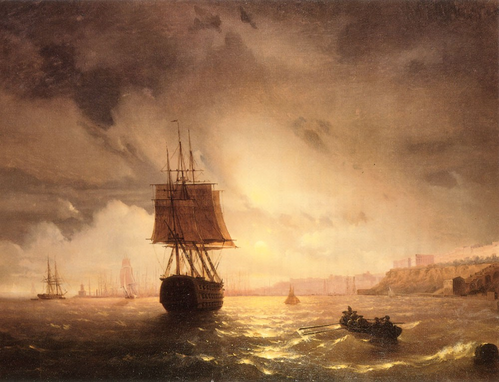 The Harbor At Odessa On The Black Sea by Ivan Konstantinovich Aivazovsky