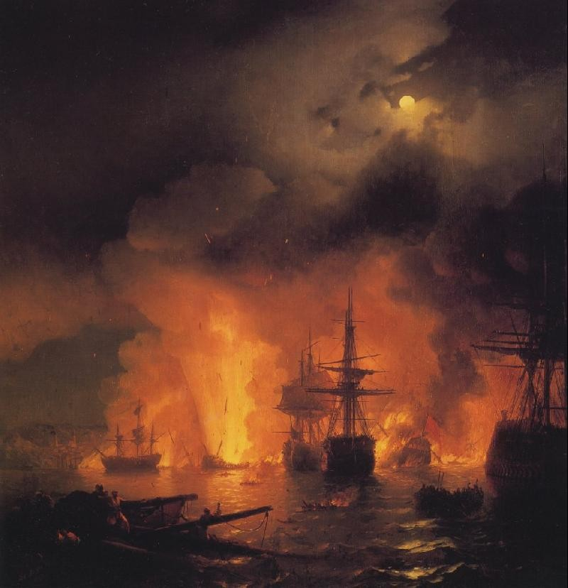 Ivan The Battle of Chesme by Ivan Konstantinovich Aivazovsky