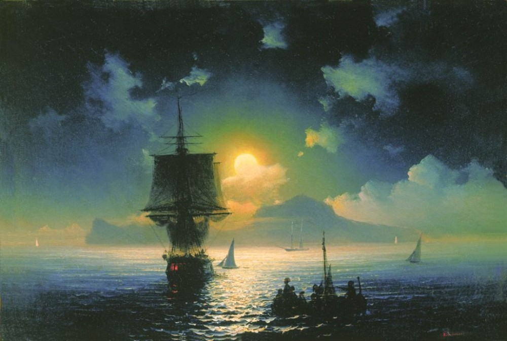 A Lunar Night On Capri by Ivan Konstantinovich Aivazovsky