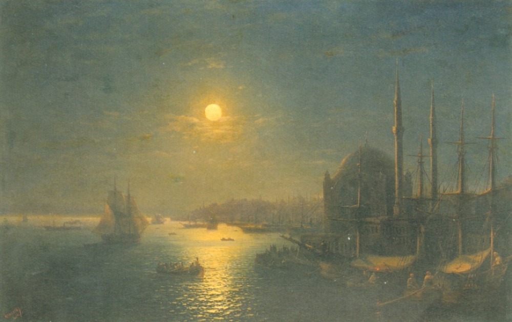 A Moonlit View Of The Bosphorus by Ivan Konstantinovich Aivazovsky