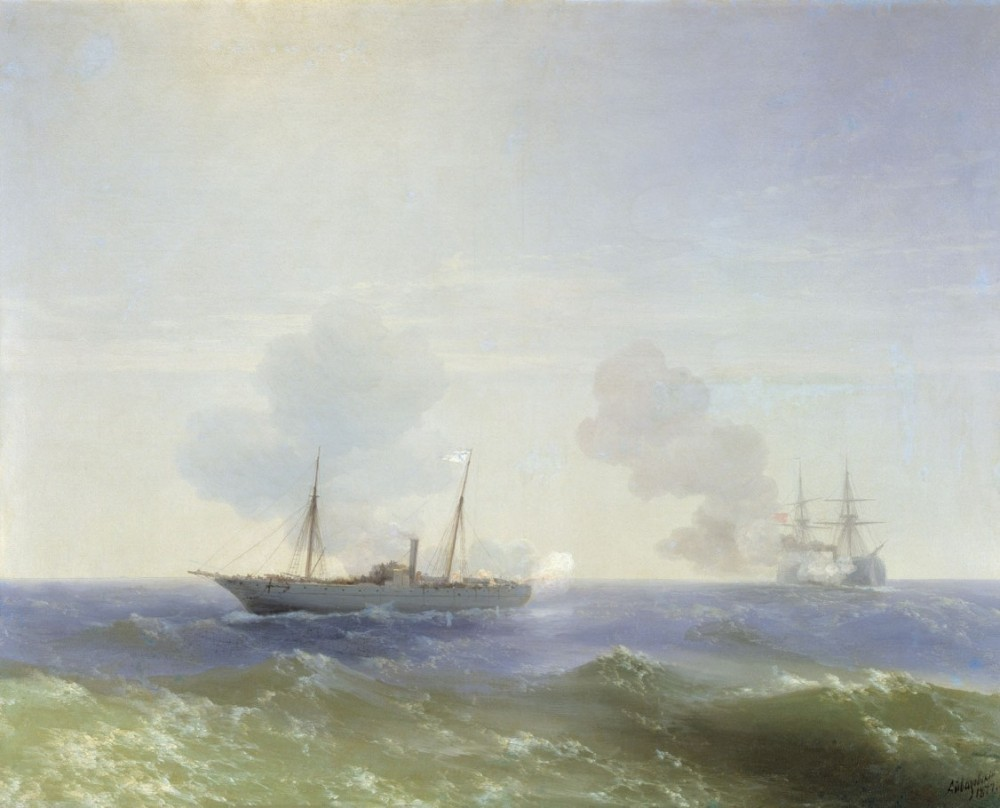 Battle Of Steamship Vesta And Turkish Ironclad by Ivan Konstantinovich Aivazovsky