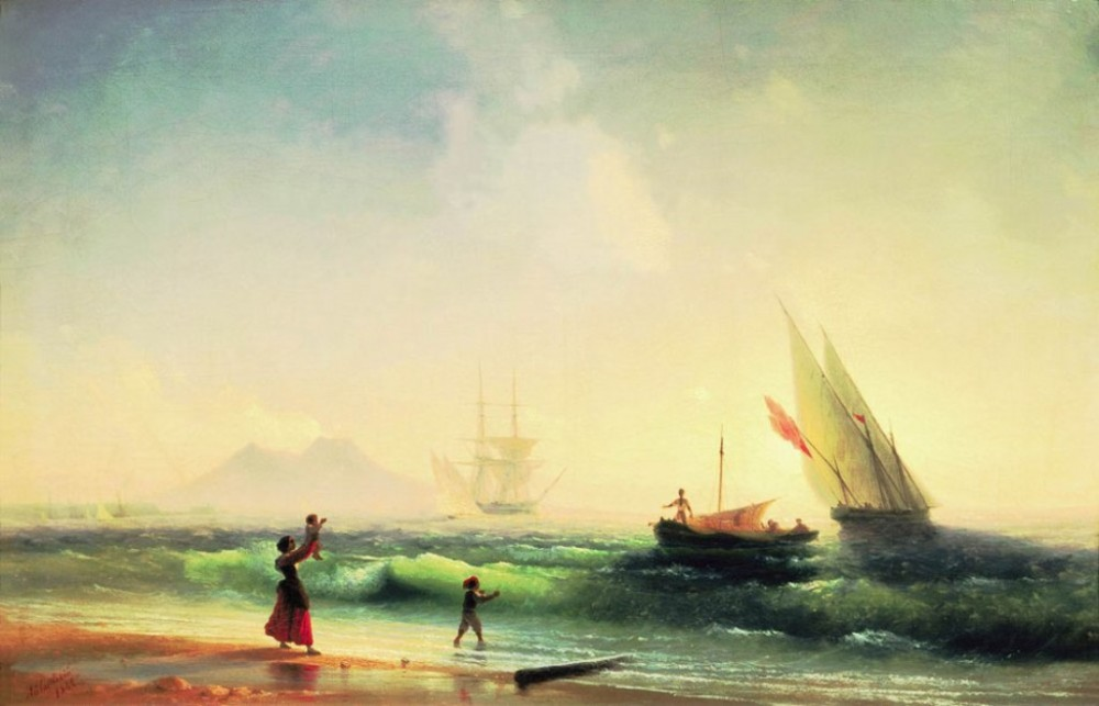 Meeting Of A Fishermen On Coast Of The Bay Of Naples by Ivan Konstantinovich Aivazovsky