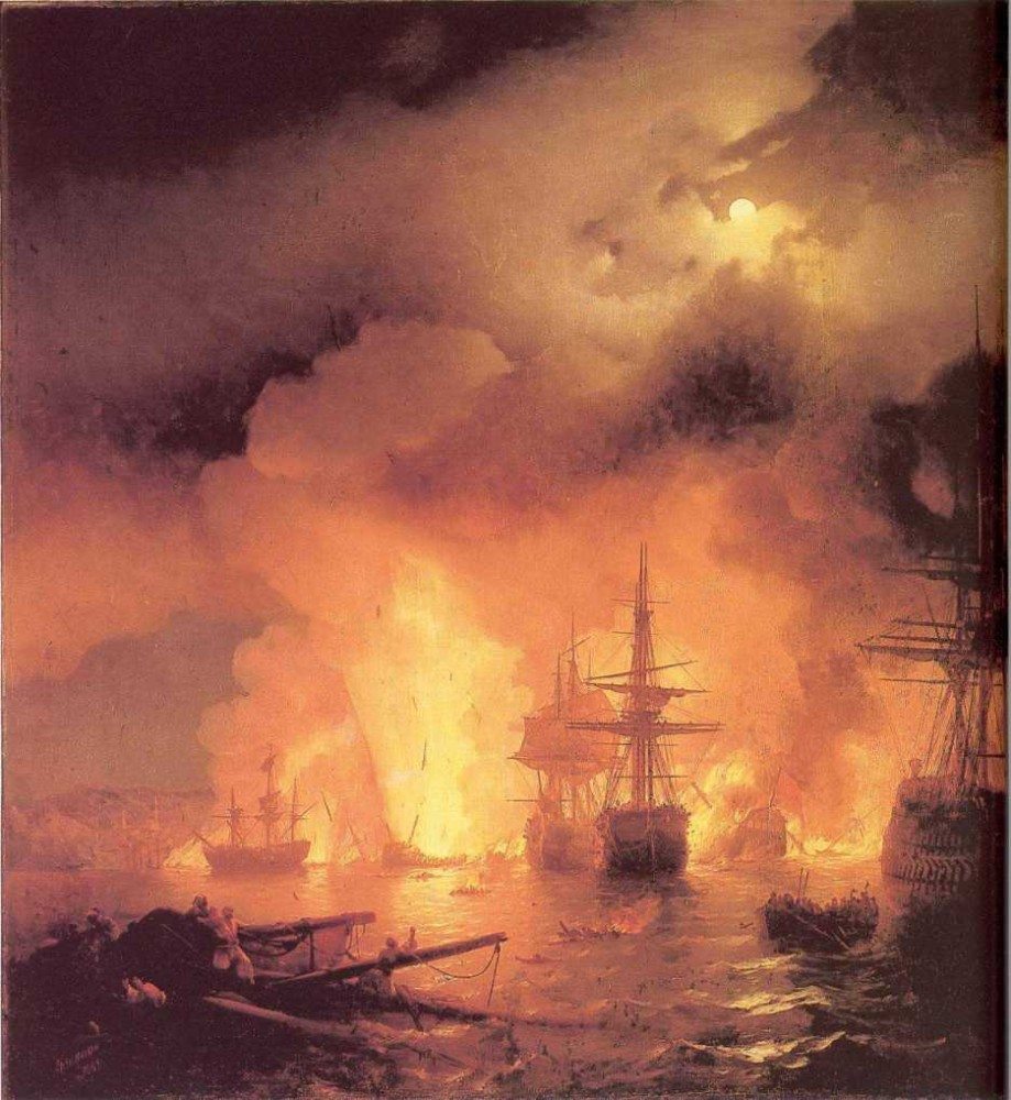 The Battle Of Chesme by Ivan Konstantinovich Aivazovsky