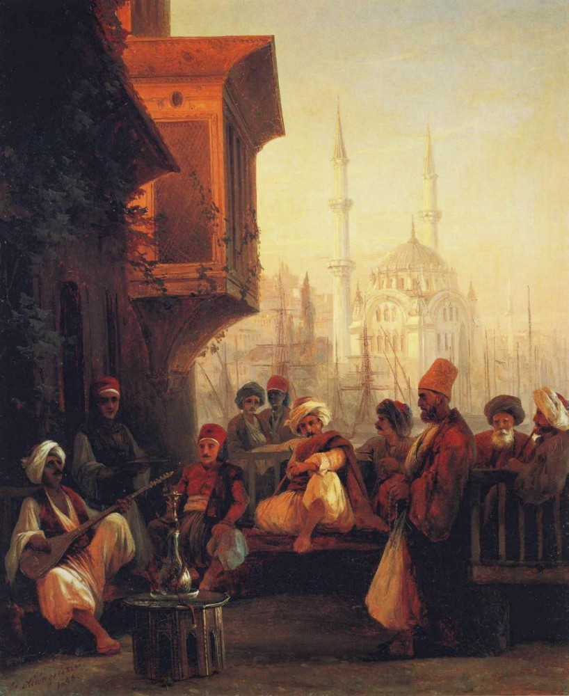 Coffee-House By The Ortakoy Mosque In Constantinople by Ivan Konstantinovich Aivazovsky