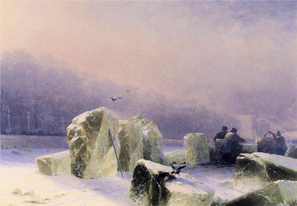 Ice-Breakers On The Frozen Neva In St Petersburg by Ivan Konstantinovich Aivazovsky