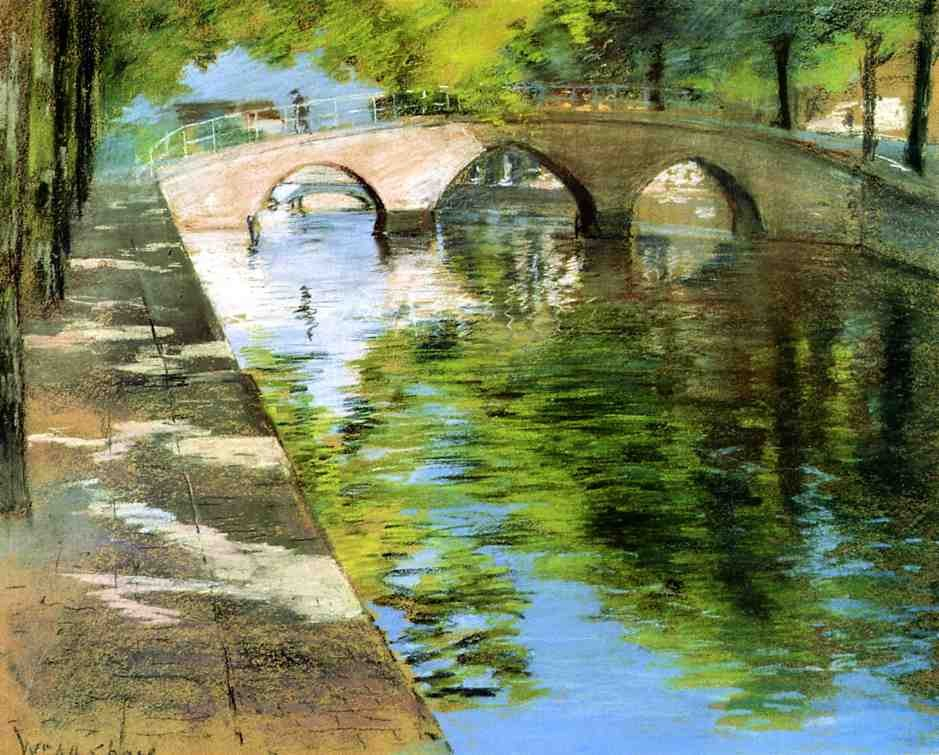 Reflections aka Canal Scene by William Merritt Chase