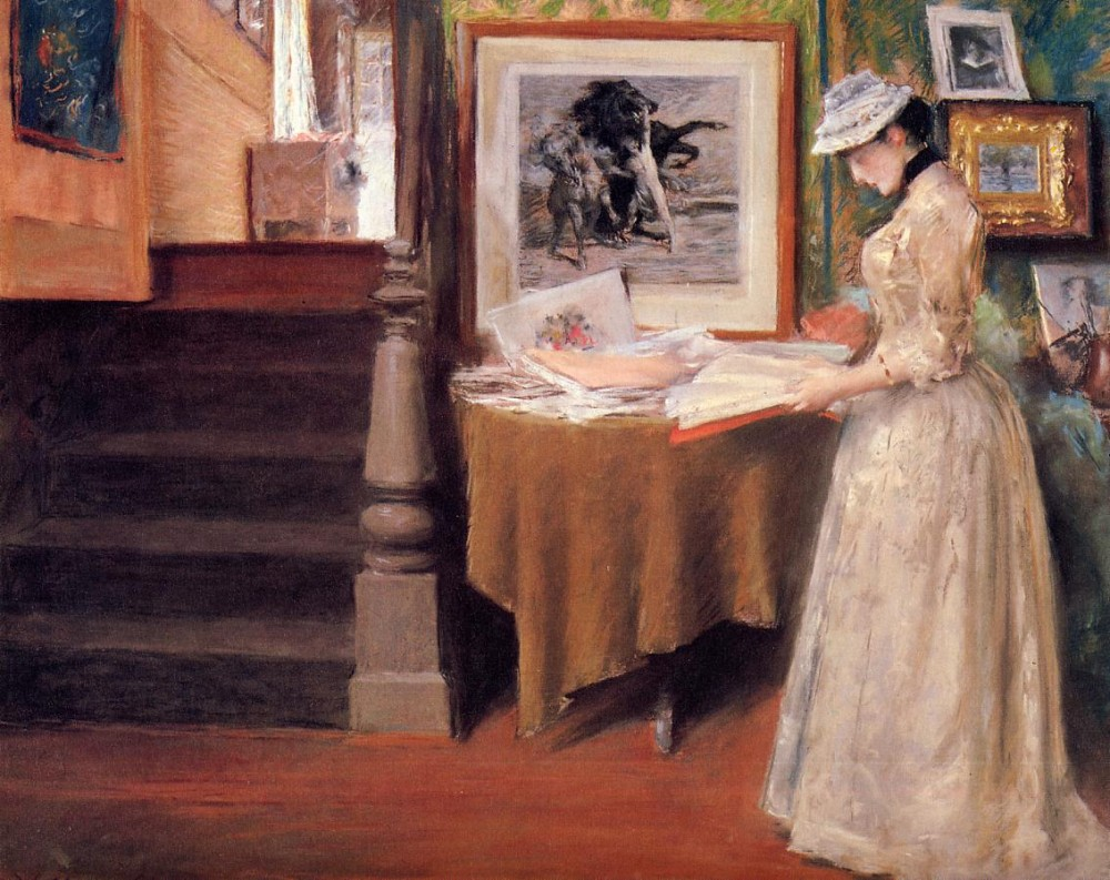 Interior Young Woman at a Table by William Merritt Chase