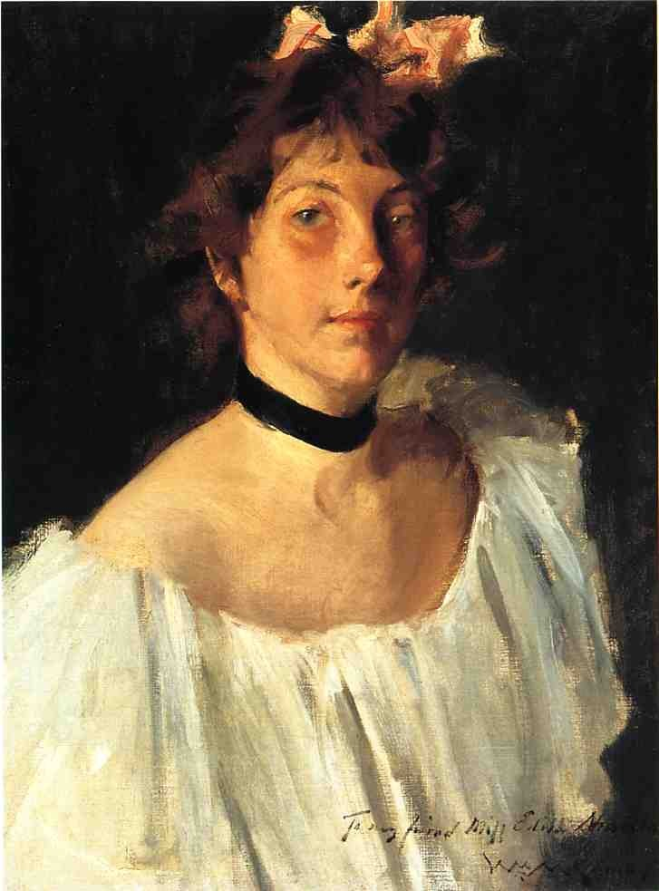 Portrait of a Lady in a White Dress by William Merritt Chase