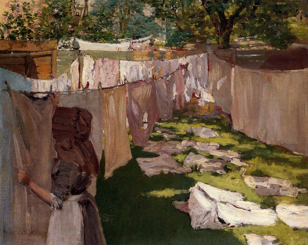 Wash Day A Back Yark Reminiscence of Brooklyn by William Merritt Chase