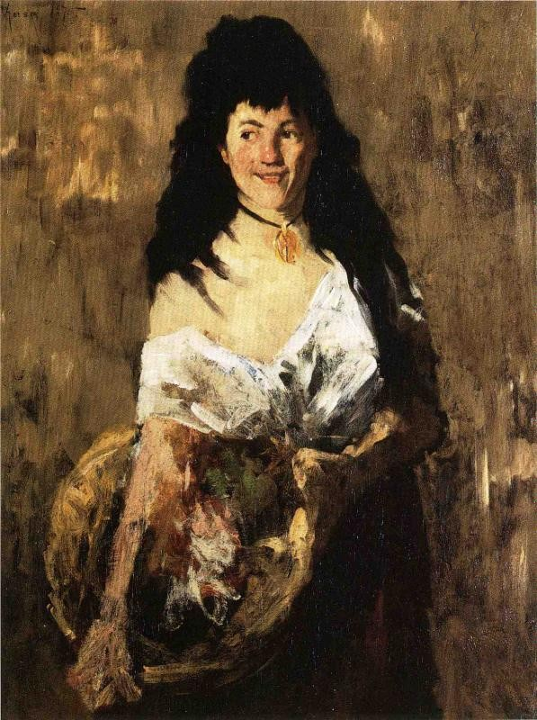 Woman with a Basket by William Merritt Chase
