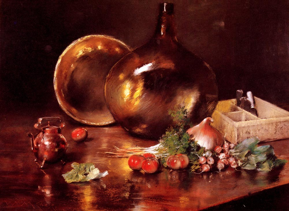 Still Life Brass and Glass by William Merritt Chase