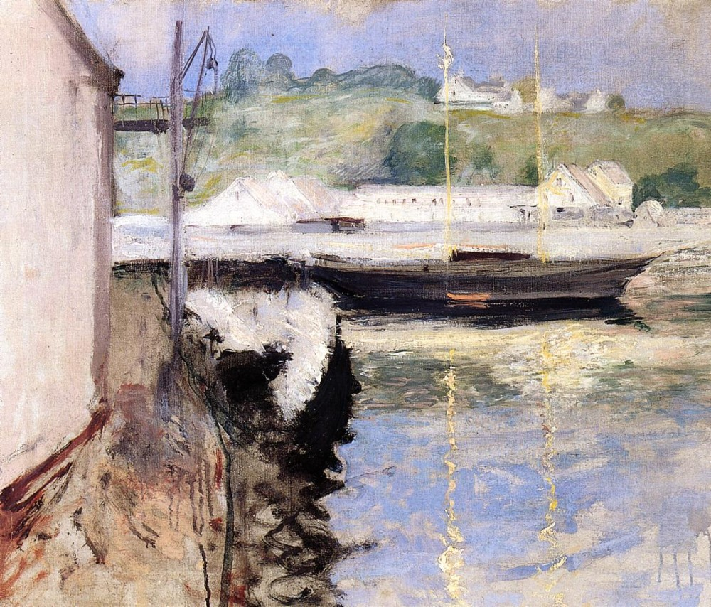Sheds and Schooner Gloucester by William Merritt Chase