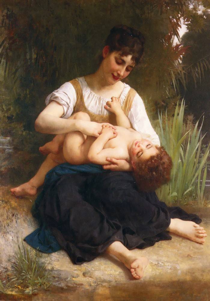Adolphe Juene Fille Et Enfant by William-Adolphe Bouguereau