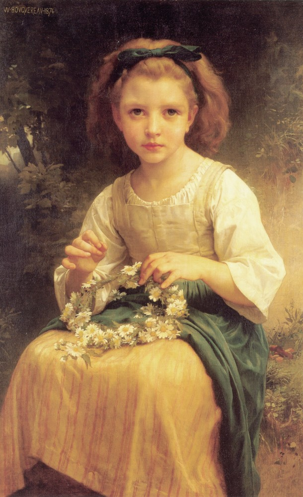 Enfant tressant une couronne by William-Adolphe Bouguereau