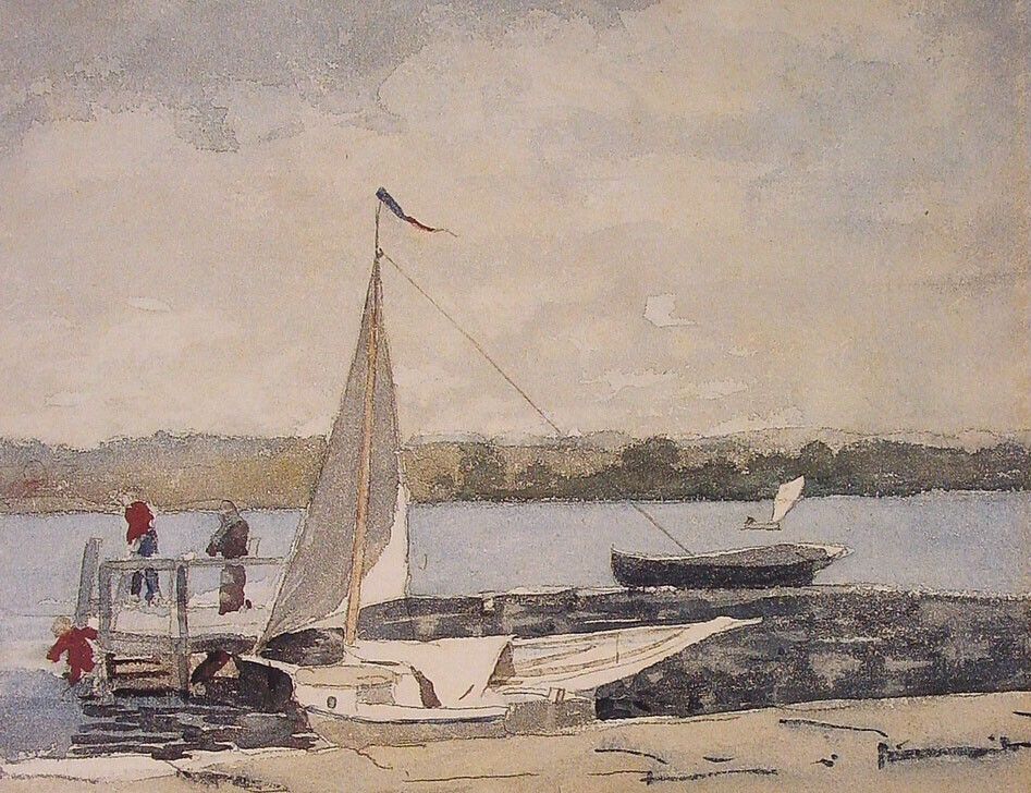 A Sloop at a Wharf Gloucester by Winslow Homer