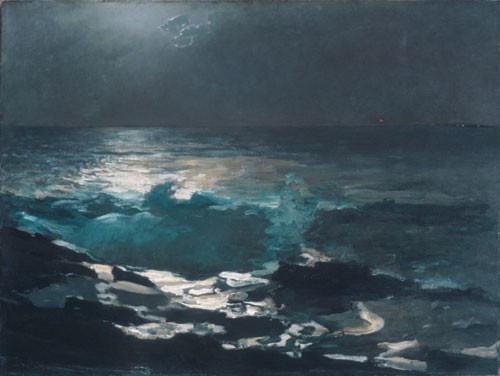 Moonlight Wood Island Light by Winslow Homer
