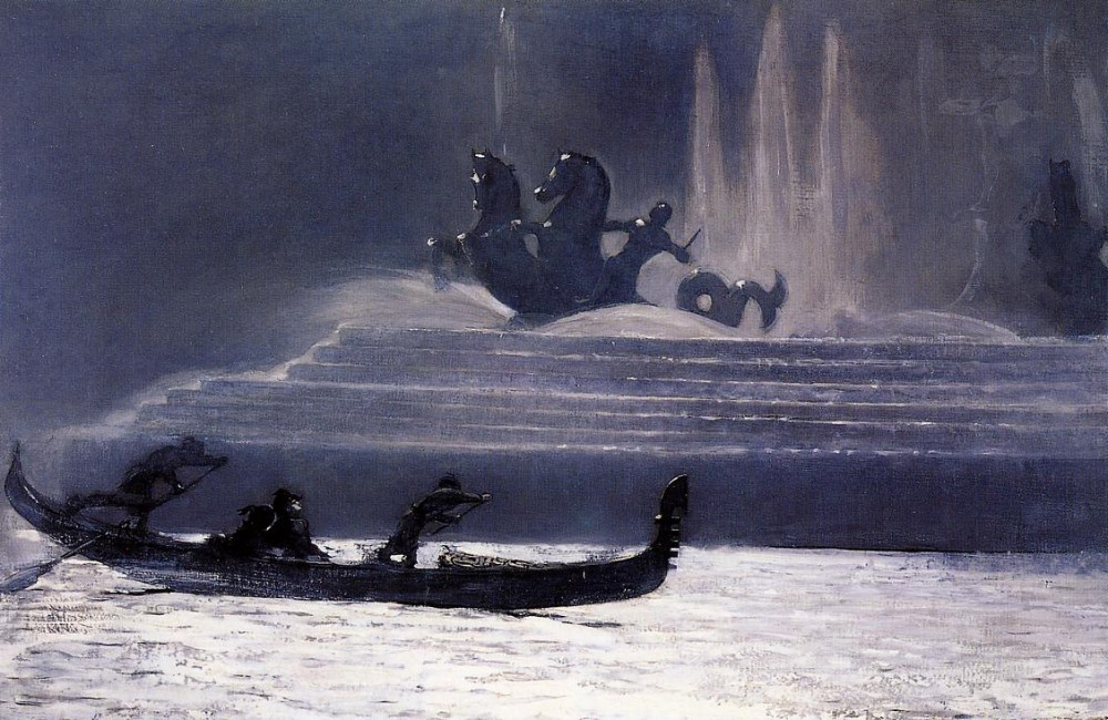 The Fountains at Night Worlds Columbian Exposition by Winslow Homer