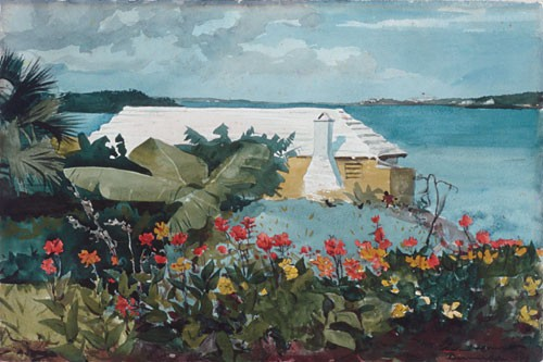 Flower Garden And Bungalow by Winslow Homer
