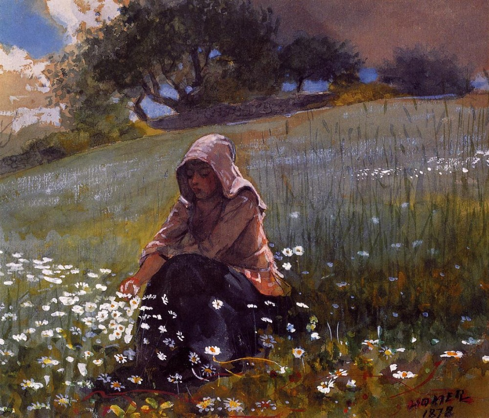 Girl and Daisies by Winslow Homer
