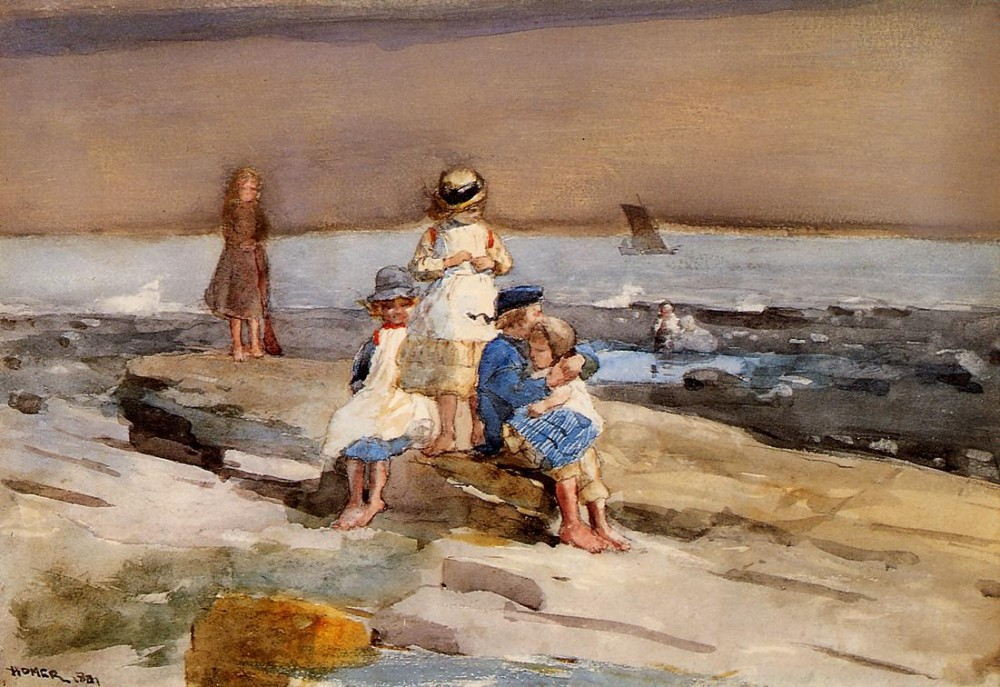 Children on the Beach by Winslow Homer