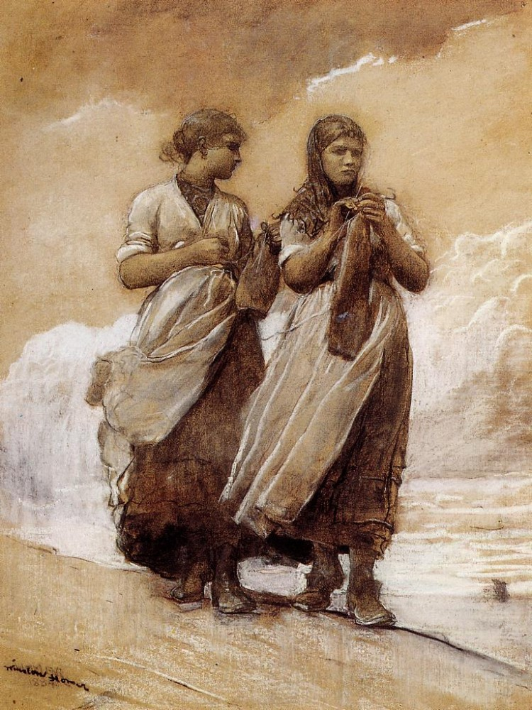 Fishergirls on Shore Tynemouth by Winslow Homer