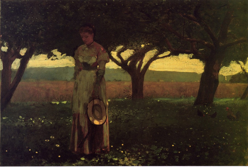 Girl in the Orchard by Winslow Homer