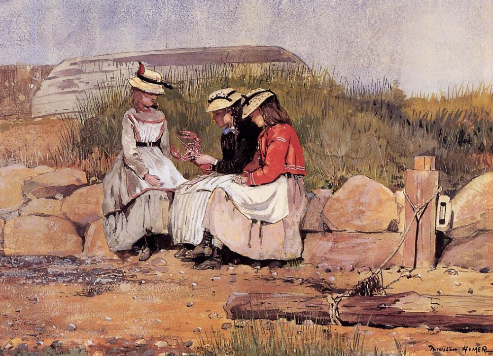 Girls with Lobster by Winslow Homer