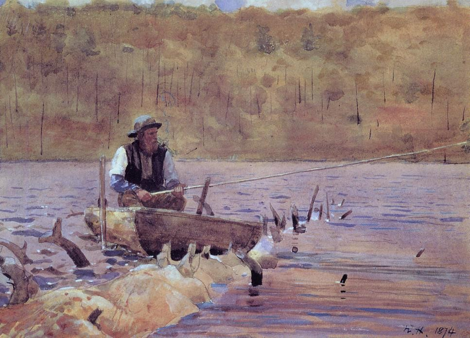 Man in a Punt Fishing by Winslow Homer
