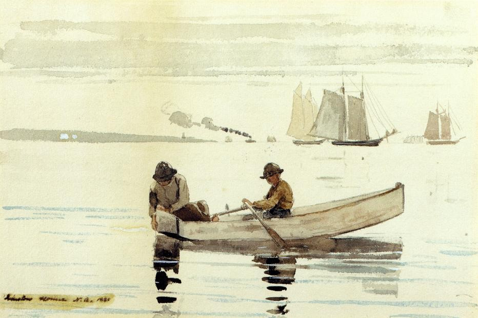 Boys Fishing Gloucester Harbor by Winslow Homer