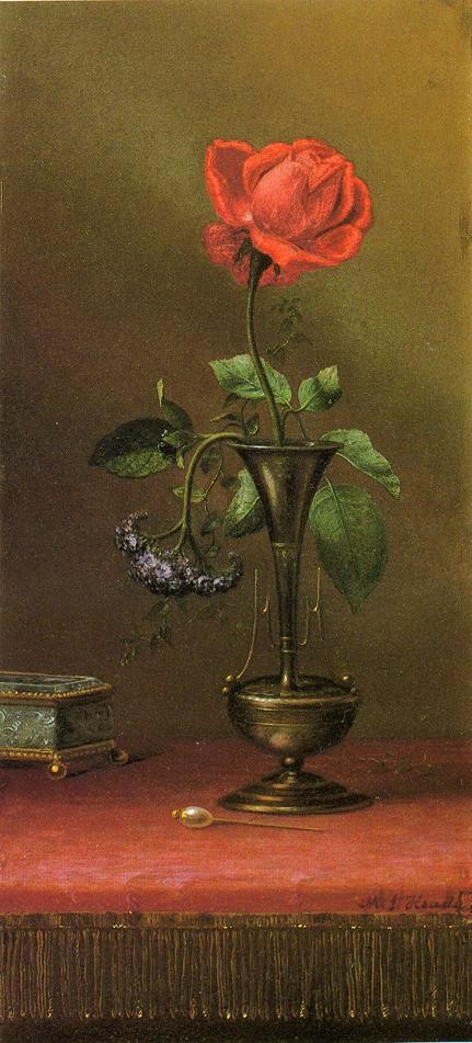 Red Rose And Heliotrope In A Vase By Heade