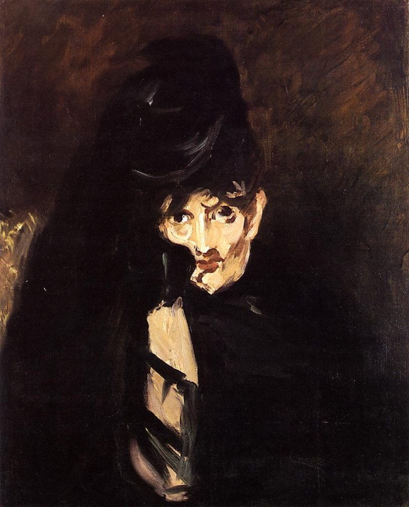 Portrait Of Berthe Morisot With Hat In Mourning by Édouard Manet