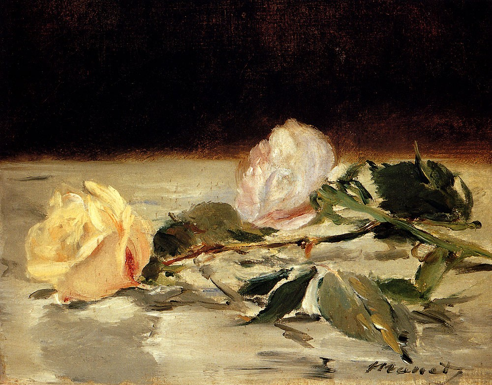 Two Roses On A Tablecloth by Édouard Manet