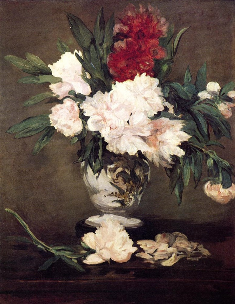 Peonies In A Vase On A Stand by Édouard Manet