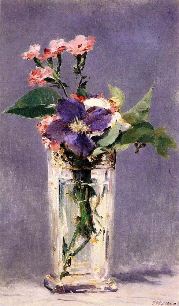 Pinks And Clematis In A Crystal Vase by Édouard Manet