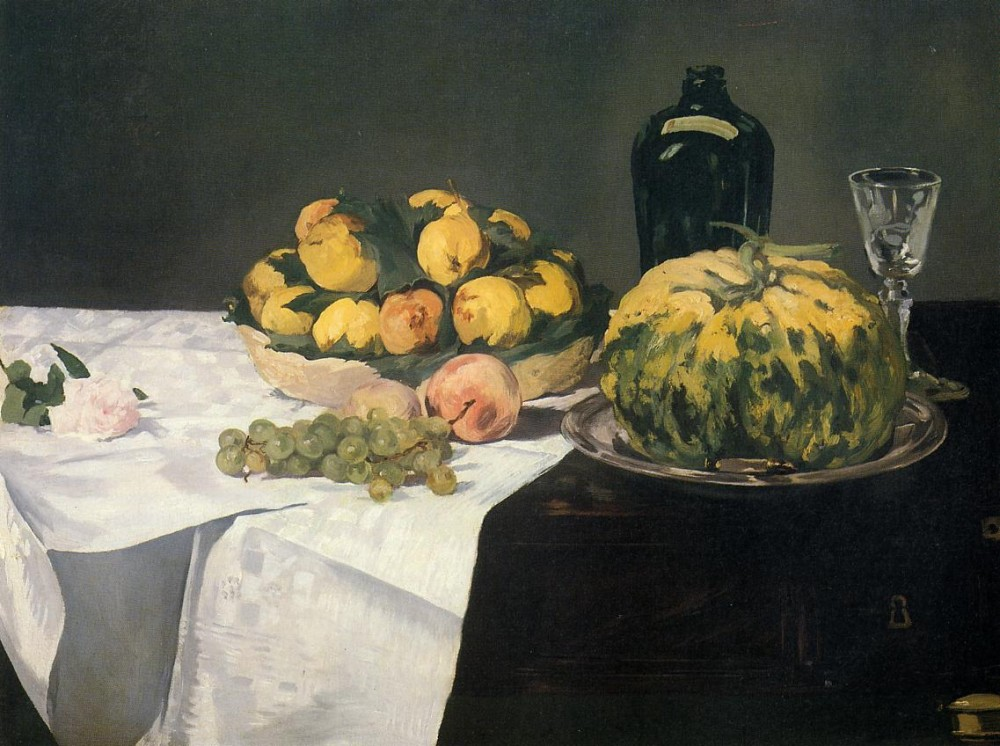 Still Life With Melon And Peaches by Édouard Manet