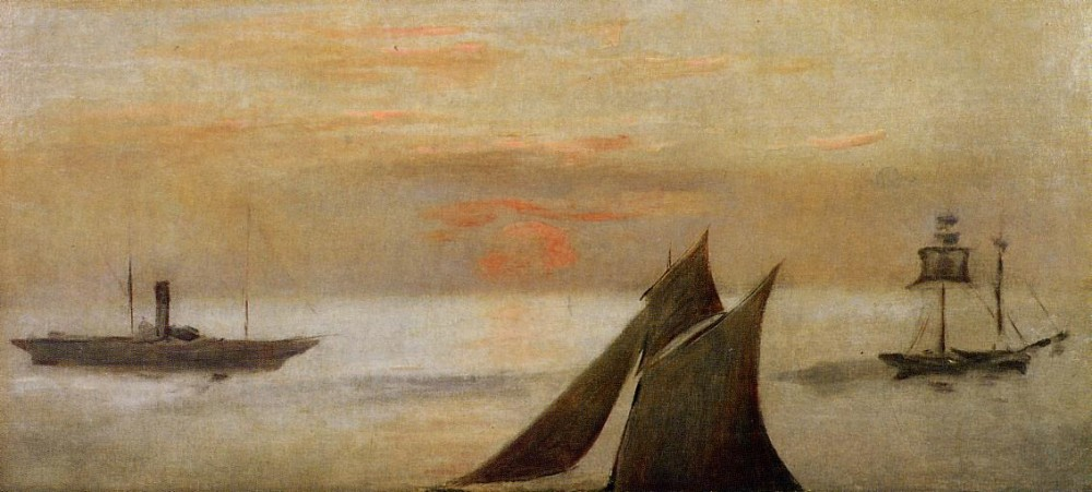Boats At Sea Sunset by Édouard Manet