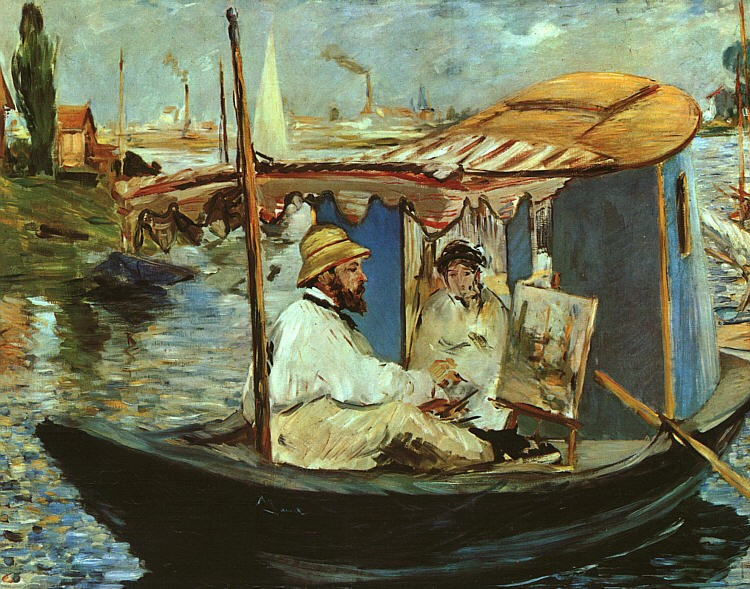 Claude Monet Working on his Boat in Argenteuil by Édouard Manet