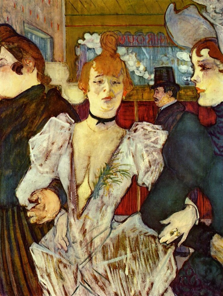 La Goulue Arriving At The Moulin Rouge With Two Women by Henri de Toulouse-Lautrec