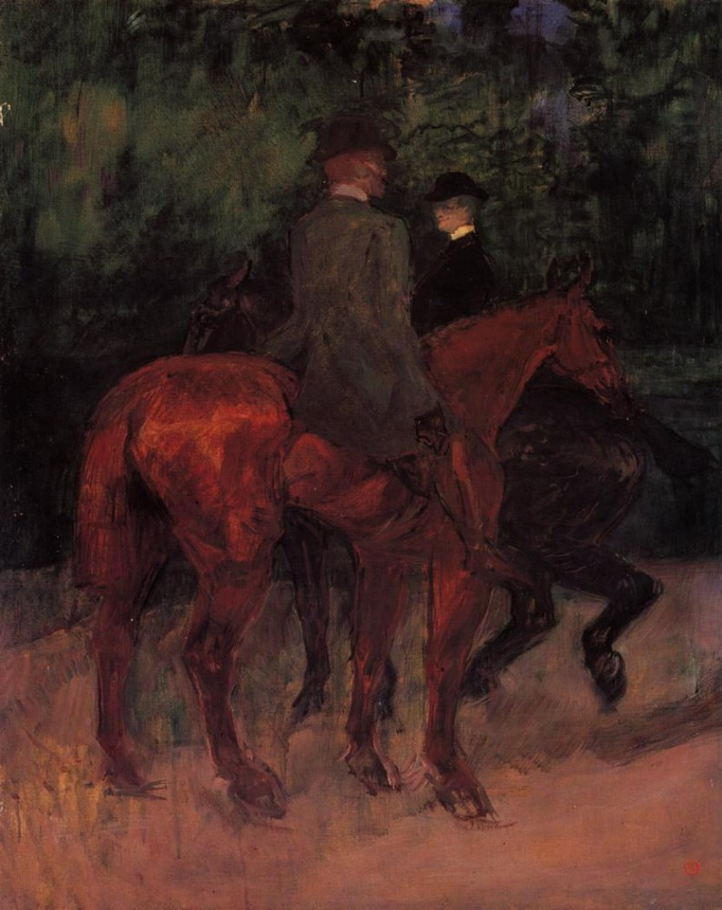 Man And Woman Riding Through The Woods by Henri de Toulouse-Lautrec